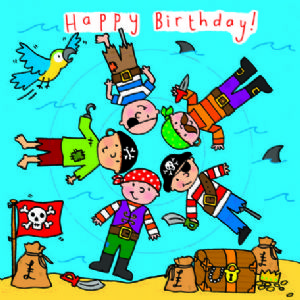 Children's Birthday Card Spinner - Pirates